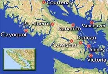 Map of Vancouver Island - B & B